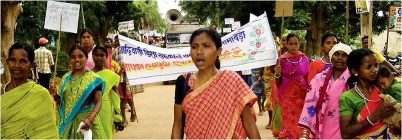 Women demonstrating in Chhattisgarh, India